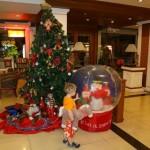 Riesenschneekugel & Weihnachtsbaum