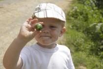 Luca mit Mandarine