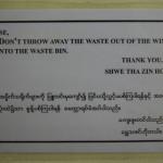 Keinen Müll aus dem Fenster werfen